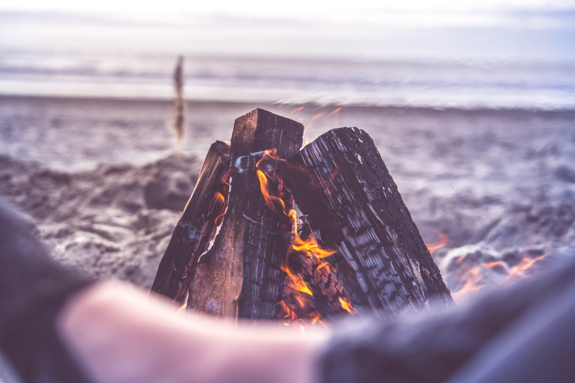 beach bonfire camping close up